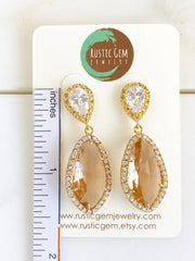 Bridal Earrings with Cubic Zirconia Post and Teardrop. Bridal Post Earrings