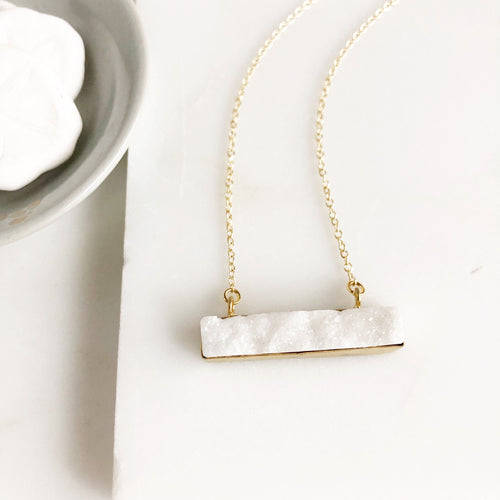 White Druzy Bar Necklace in Gold. Druzy Necklace. White Druzy Necklace. Gift for Her.