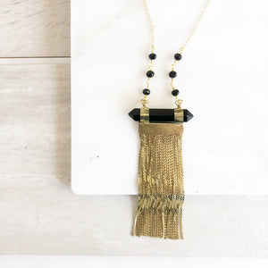 Long Gold Chain Tassel Necklace with Black Stone and Beaded Chain. Long Tassel Necklace. Tassel Jewelry. Long Necklace. Gold Necklace.