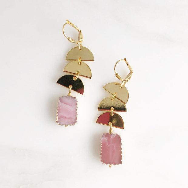 Gold Dangle Earrings with Half Circles and Gemstones. Pink Rhodolite Blue Druzy Raw Fluorite