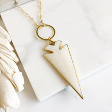 Load image into Gallery viewer, Large Arrowhead Necklace. Long Bone Pendant Necklace. Cream Arrowhead and Beaded Chain. Boho Pendant Necklace. Bohemian Necklace. Gift.
