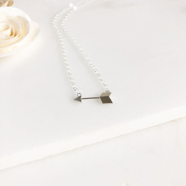 Dainty Arrow Necklace in Silver. Silver Layering Necklace. Sterling Silver.