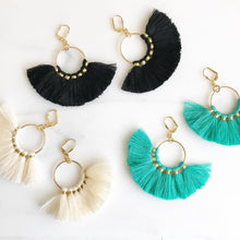 Load image into Gallery viewer, Fan Tassel Earrings. Black Ivory or Turquoise Tassel Earrings. Chandelier Earrings. Tassel Dangle Earrings. Statement Earrings. Jewelry.