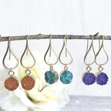 Load image into Gallery viewer, Druzy Drop Earrings. Dangle Earrings. Druzy Earrings. Gift for Her. Druzy Jewelry. Christmas Gift. Holiday Gift. Jewelry Gift.