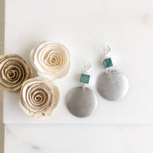 Load image into Gallery viewer, Silver Textured Disk and Amazonite Statement Earrings.