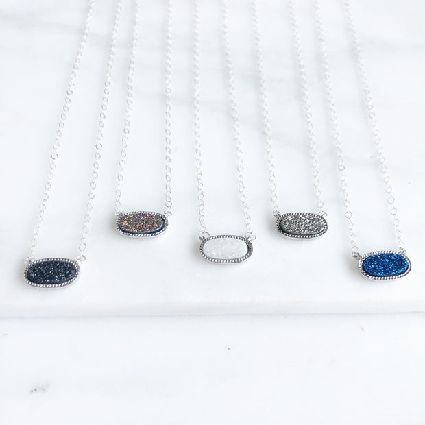 Dainty Gemstone Necklaces in Silver. Delicate Gemstone Slice Layering Necklace