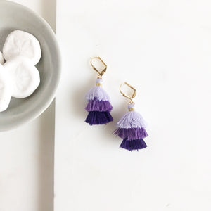 Cute Puffy Dangle Earrings in Shades of Purple . Tassel Earrings. Jewelry Gift.