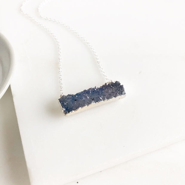 Slate Blue Raw Druzy Bar Necklace in Sterling Silver.