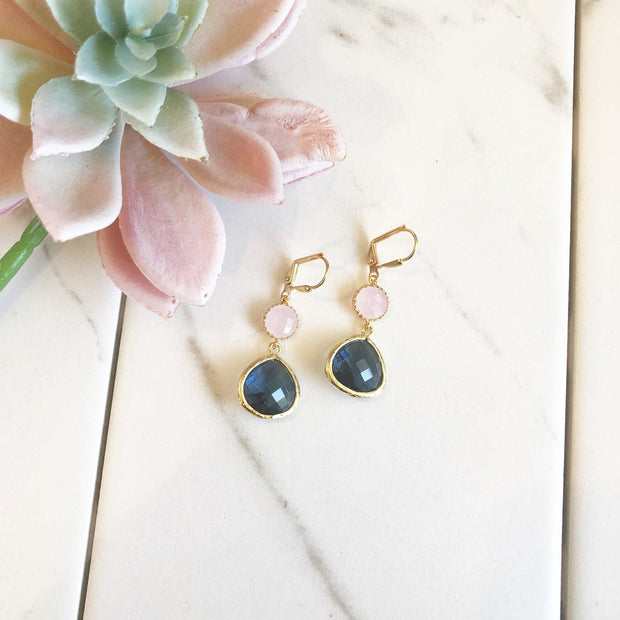 Earrings Sapphire Blue and Soft Pink Dangle Earrings in Gold. Navy Blue Pink Dangle Drop