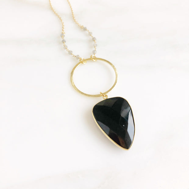 Long Black Stone Necklace. Black Shield Necklace with Labradorite Beading in Gold.