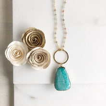 Load image into Gallery viewer, Long Amazonite Necklace with Moonstone Beading. Long Gold Necklace. Boho Jewelry. Gift.