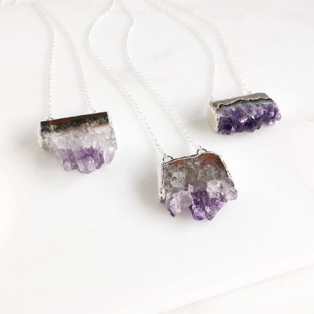 Amethyst Slice Druzy Necklace in Silver Geode Necklace. Druzy Jewelry. Raw Stone Necklace. Statement Necklace.