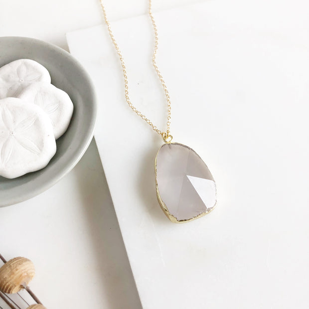 Cloudy White Clear Quartz Stone Statement Necklace in Gold.