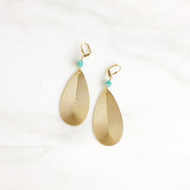 Gold Statement Earrings with Amazonite Stones. Big Teardrop Earrings in Gold.