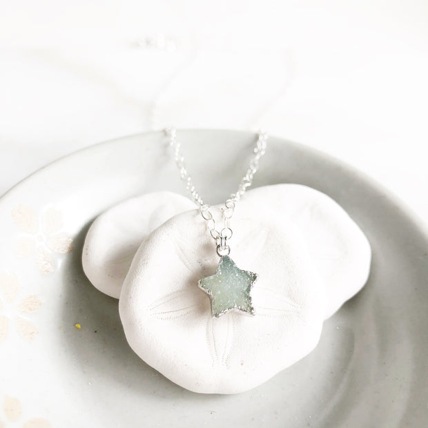 Seafoam White Star Necklace. Druzy Star Necklace. Simple Necklace. Silver Layering Necklace.