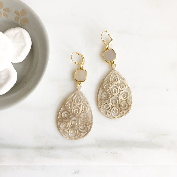 Fun Mother of Pearl Statement Earrings. Gold Dangle Earrings. Gold Chandelier Earrings.