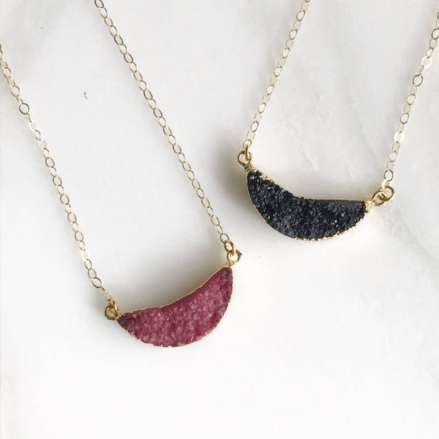 Simple Half Moon Druzy Necklace. Everyday Boho Necklace. Dainty Gold Necklace. Layering Necklace. Jewerly Gift for Her. Crescent.