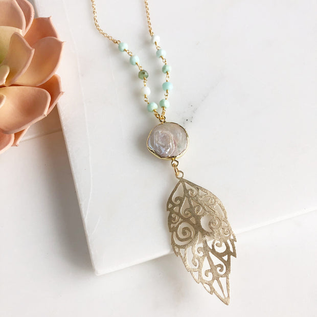 Mother of Pearl Necklace. Long Gold Necklace. Bohemian Necklace. Boho Jewelry. Shell Necklace. Gift.