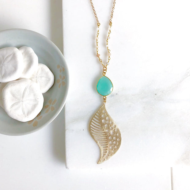 Long Gold Aqua Chalcedony Necklace. Chalcedony Stone Pendant Necklace. Layering Beaded Necklace