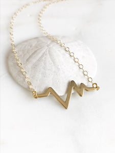 Simple Gold Necklace. Dainty Gold Heartbeat Pendant Necklace. Layering Gold Bar Necklace. Gift for Her. Boho Layering Necklace.