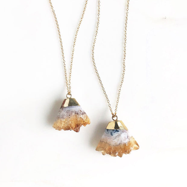 Raw Citrine Triangle Necklace in Gold