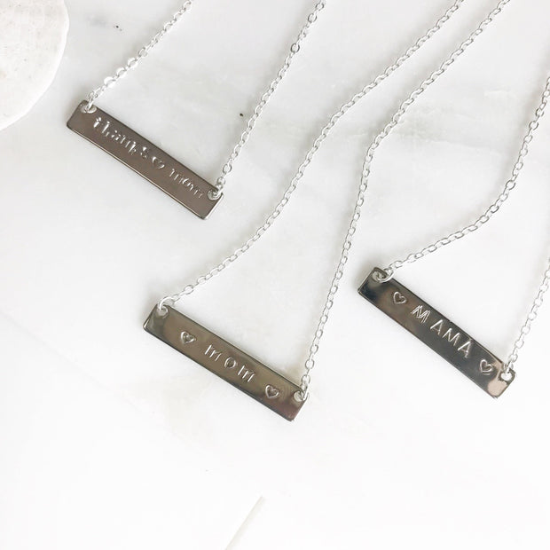 Mother's Day Necklace. Mother's Day Gift. Mother's Day Bar Necklace. Mothers Day Jewlery Gift. Silver Bar Necklace. Grandma Necklace.