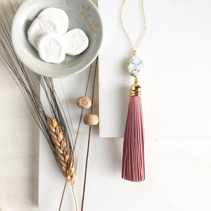 Pink Tassel and White Howlite Necklace in Gold