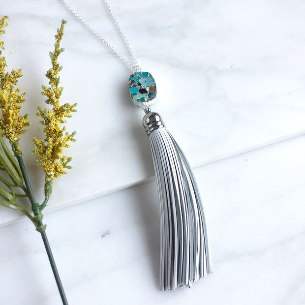 Tassel Necklace with Turquoise Stone and White Tassel. Long Leather Tassel Necklace.