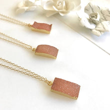 Load image into Gallery viewer, Peach Druzy Necklace. Druzy Bar Necklace. Layering Necklace. Crystal Druzy Necklace. Peach Pendant Necklace. Layered Jewelry.