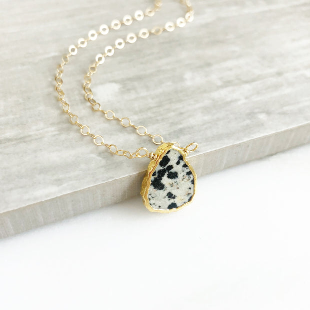 Gemstone Slice Necklace in Gold. Dalmation Jasper Gemstone Necklace. Layering Necklace