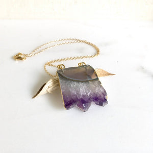 Amethyst Slice Crystal Necklace. Geode Necklace. Druzy Jewelry. Natural Crystal Necklace. Amethyst Necklace. Raw Stone Jewelry. Gift.