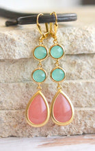 Load image into Gallery viewer, Dangle Earrings in Coral Pink and Aqua. Drop Earrings. Long Earrings. Bridal Party Jewelry. Bridesmaids Earrings. Gift. Wedding Earrings.