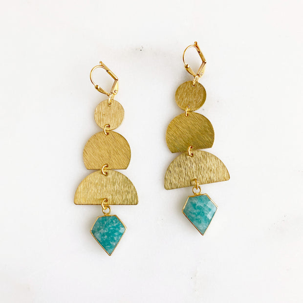 Long Geometric Statement Earrings with Amazonite Pendants. Gold Dangle Earrings