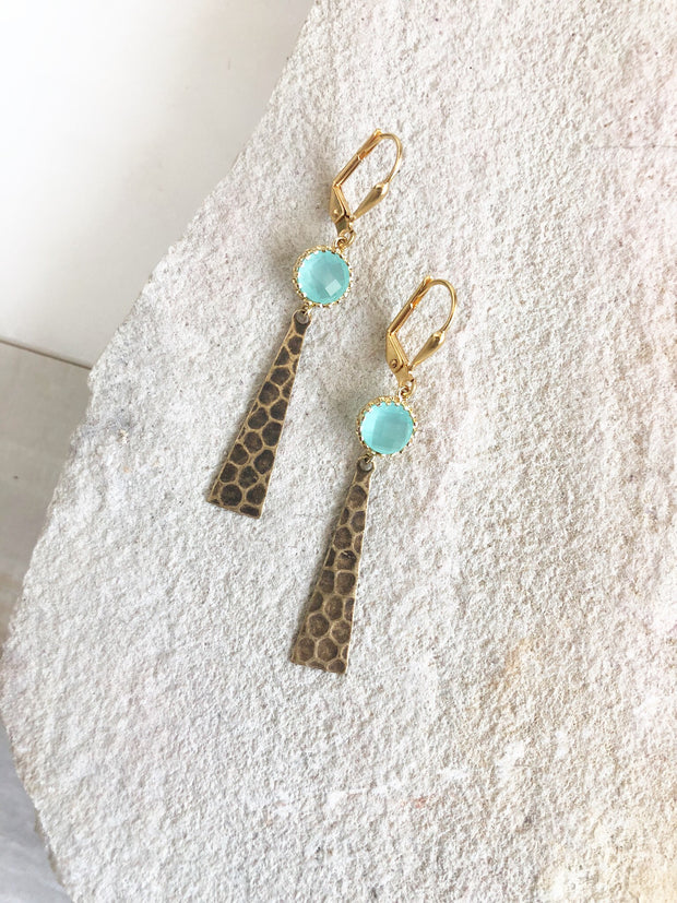 SALE Aqua Stone and Textured Dot Triangle Earrings in Gold. Fun Gold Earrings. Statement Earrings.