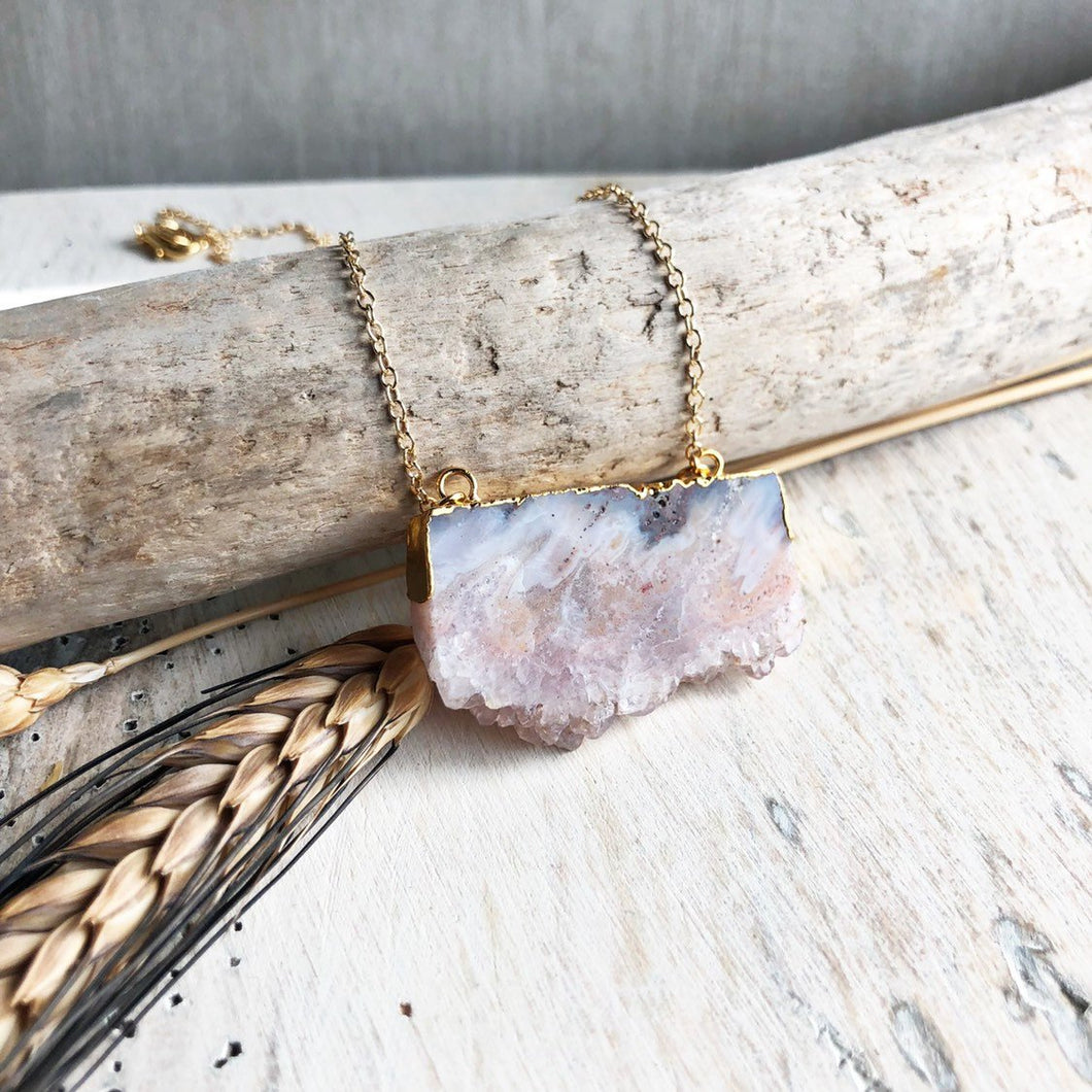 Raw Stone Necklace. Geode Necklace. Druzy Jewelry. Natural Crystal Necklace. Amethyst Necklace. Simple Geode Necklace. Warm Tones Jewelry.