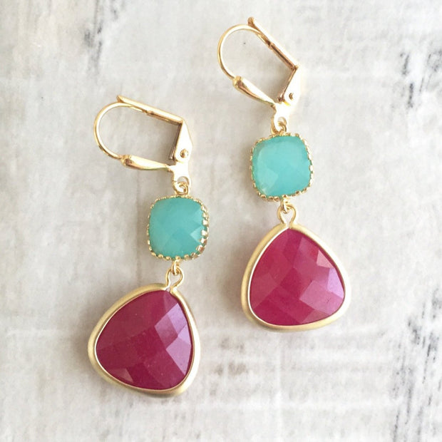 Earrings Bridesmaid Earrings with Fuchsia and Turquoise Jewels. Pink Teal Dangle Earrings. Bridesmaid Jewelry. Bridal Party Gift. Wedding.