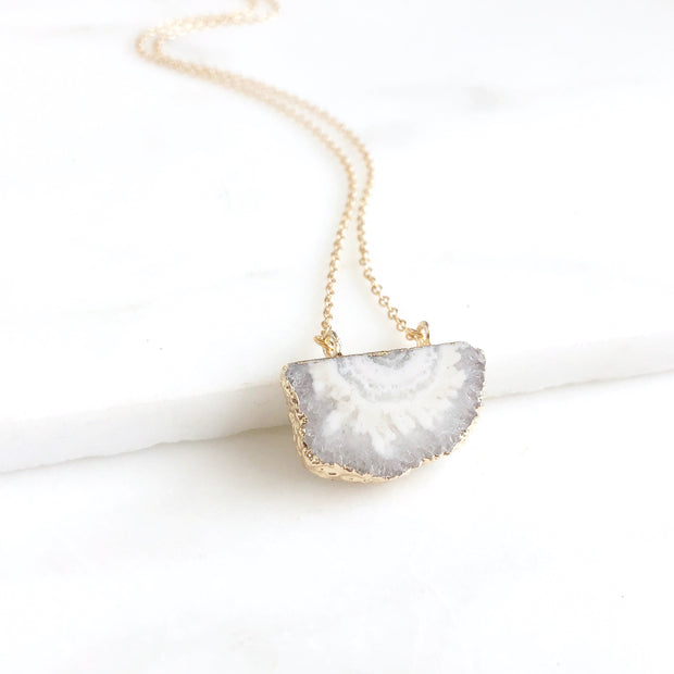 Solar Agate Pendant Necklace in Gold. White Stone Pendant Necklace