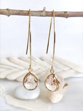 Load image into Gallery viewer, Gold Champagne Drop Earrings. Bridesmaid Gift. Drop Earrings. Wedding Jewelry. Simple Earrings Christmas Gift. Dangle Earrings. Jewelry Gift