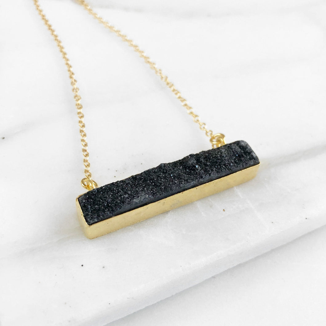 Black Druzy Bar Necklace in Gold. Black Druzy Necklace. Bar Necklace. Geometric Druzy Necklace. Layering Necklace. Druzy Jewelry. Gift.