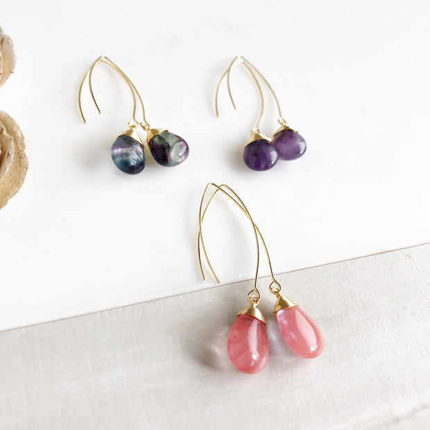 Colorful Teardrop Earrings. Amethyst Rainbow Flourite and Strawberry Quartz. Marquise Drop Earrings