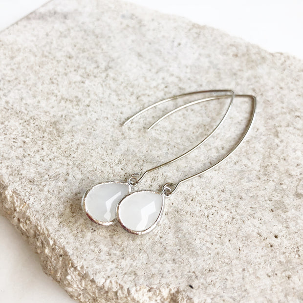 Silver and Smoky White Drop Earrings. Bridesmaid Gift. Silver Wedding Jewelry