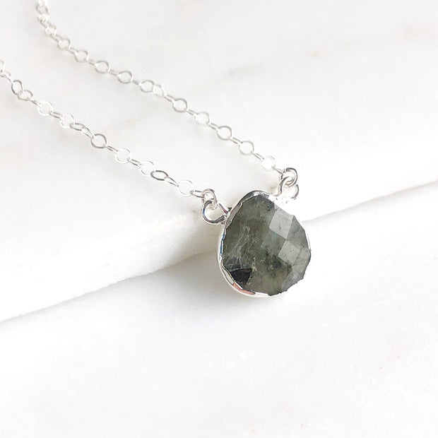 Labradorite Bezel Teardrop Necklace in Sterling Silver