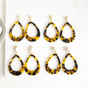 Brow Tortoise Shell Drop Post Earrings in Gold.