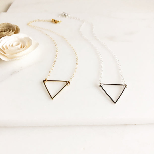 Large Triangle Necklaces. Layering Necklaces. Silver and Gold Layering Jewelry.