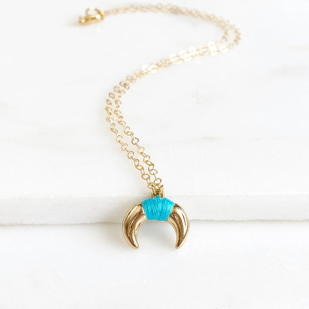 Gold Crescent Necklace with Turquoise Accent. Simple Gold Necklace