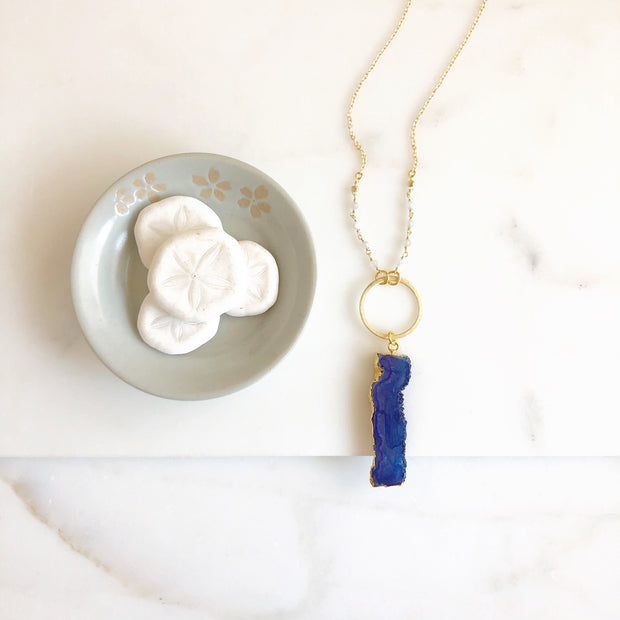 Raw Stone Necklace. Long Royal Blue Druzy Necklace. Rough Edge Stone Necklace. Long Druzy Necklace.