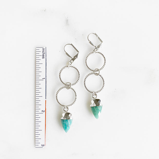 Amazonite Shield and Silver Hoop Earrings in Silver. Aqua Stone Dangle Earrings