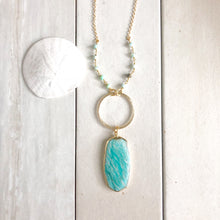 Load image into Gallery viewer, Long Amazonite Necklace in Gold. Bohemian Jewelry. Long Stone Necklace. Pendant Necklace. Jewelry.
