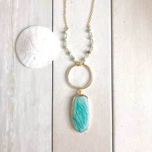 Long Amazonite Necklace in Gold. Bohemian Jewelry. Long Stone Necklace. Pendant Necklace. Jewelry.