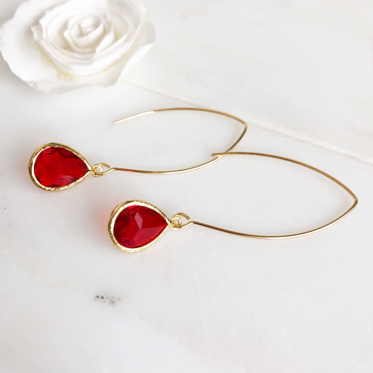 Red Drop Earrings in Gold. Red Earrings. Holiday Jewelry. Christmas Earrings. Gift.